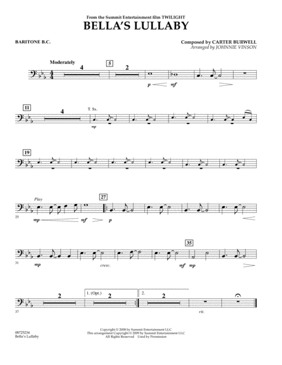 Bella's Lullaby (from Twilight) - Baritone B.C.