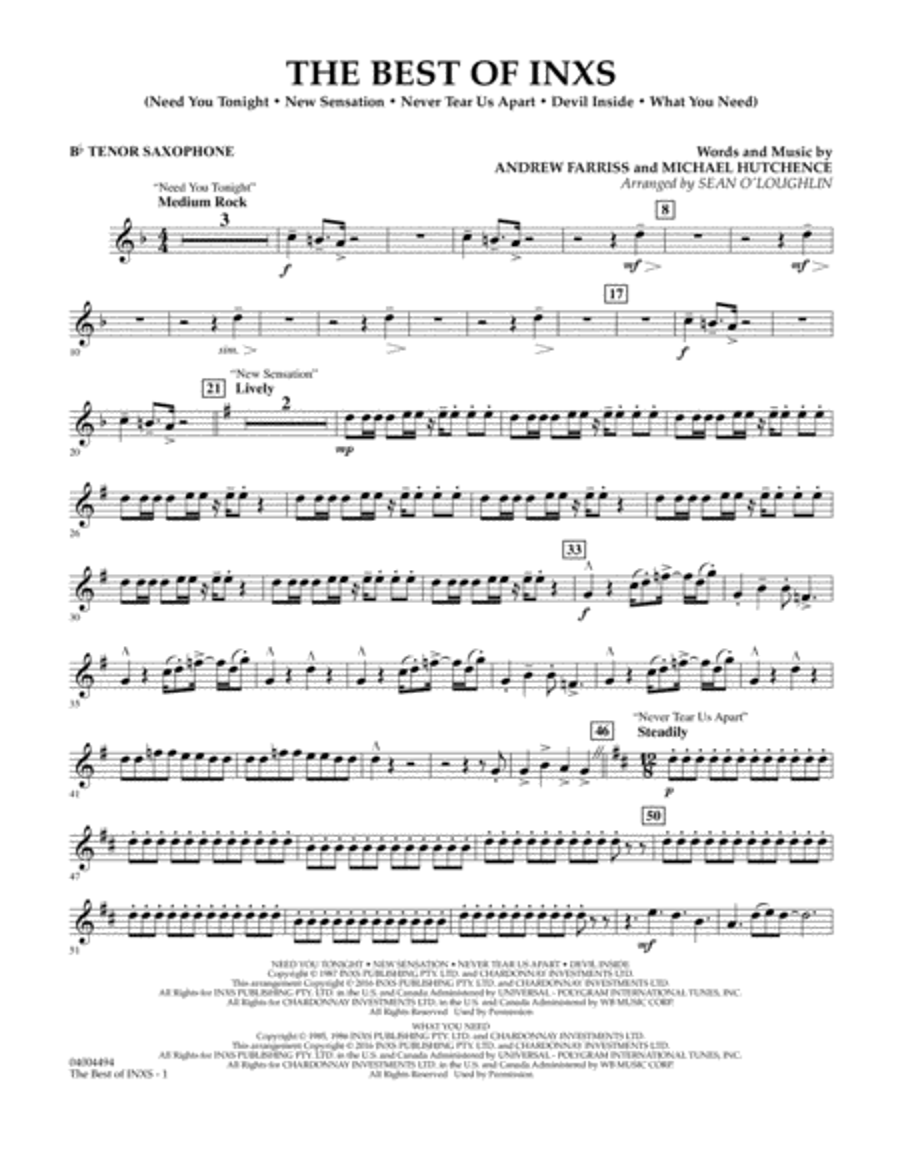 The Best of INXS - Bb Tenor Saxophone