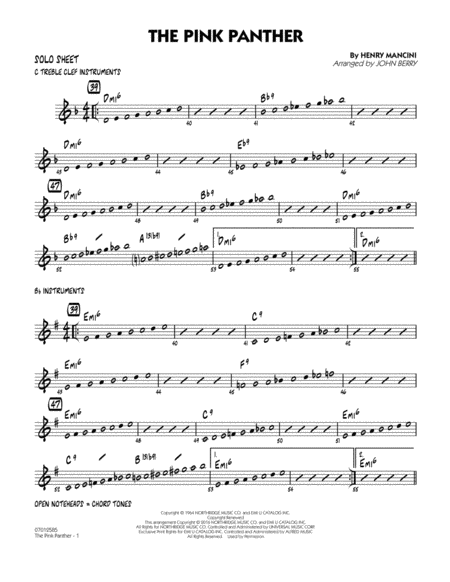 The Pink Panther - Solo Sheet