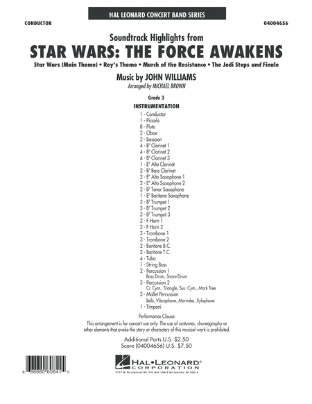 Soundtrack Highlights from Star Wars: The Force Awakens - Conductor Score (Full Score)