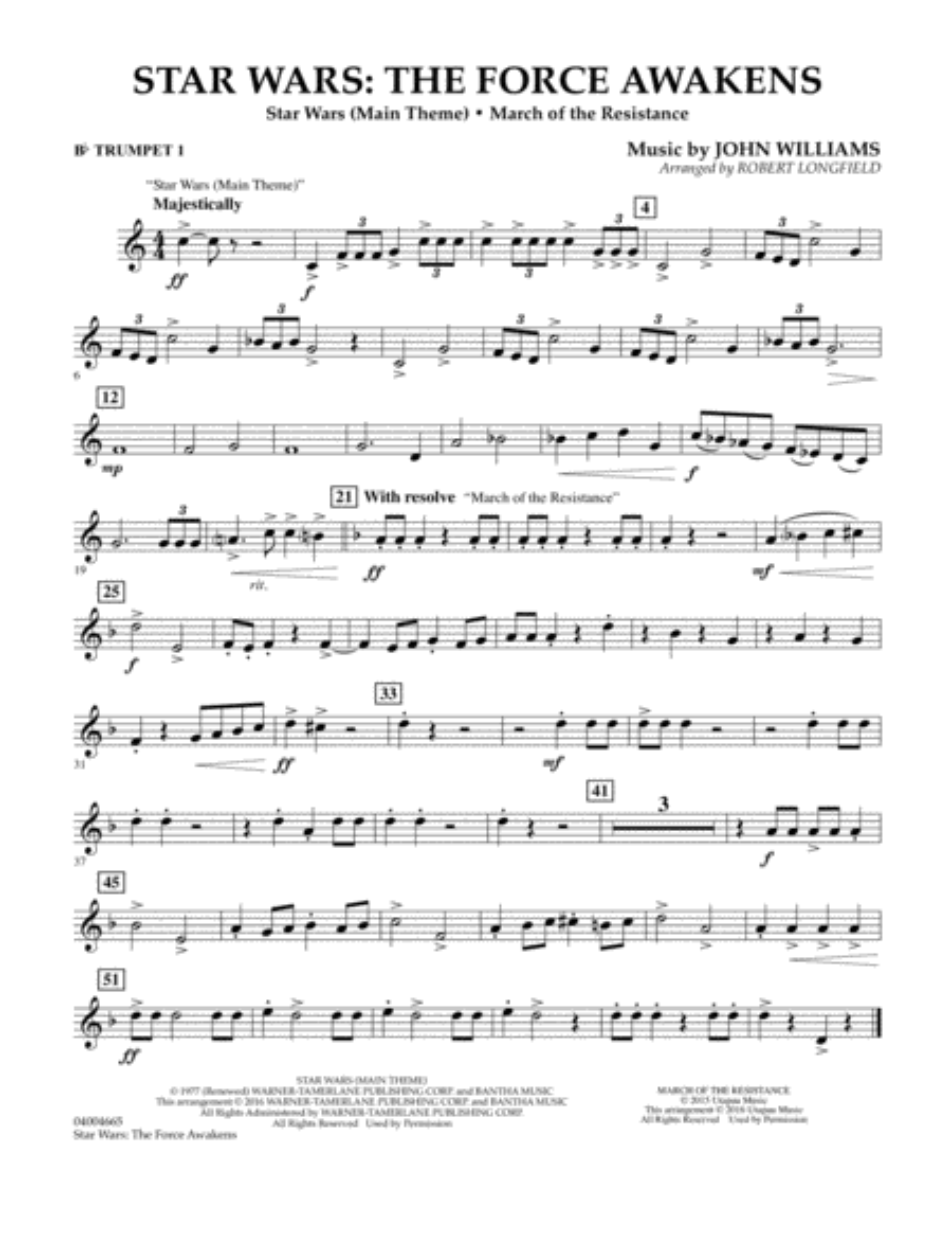 Star Wars: The Force Awakens - Bb Trumpet 1