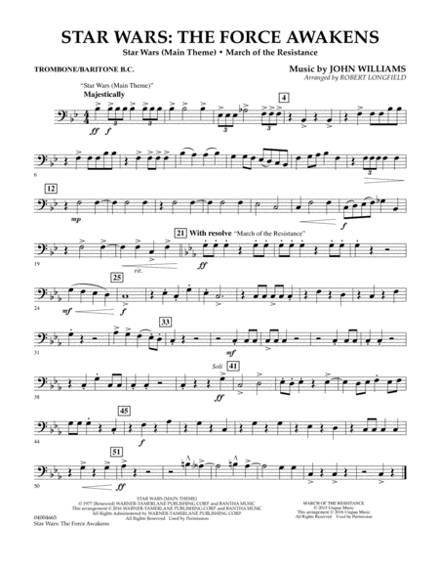 Star Wars: The Force Awakens - Trombone/Baritone B.C.