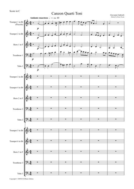 Gabrieli: Canzon Quarti Toni for 3 Brass Quintets