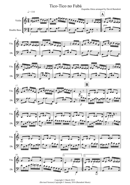 Tico Tico for Violin and Double Bass Duet