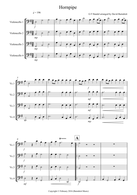 Hornpipe from Handel's Water Music for Cello Quartet