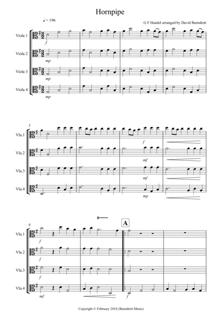 Hornpipe from Handel's Water Music for Viola Quartet