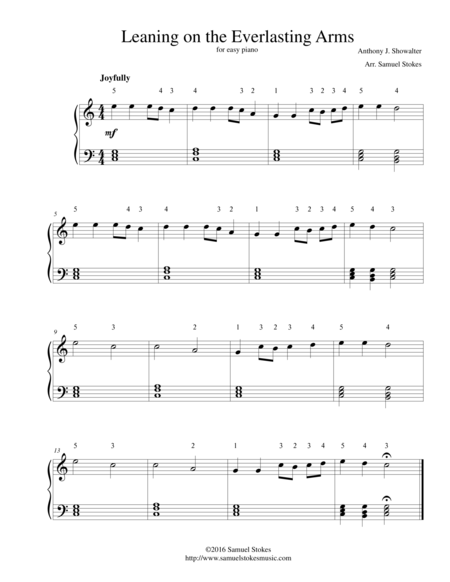 Leaning on the Everlasting Arms - for easy piano