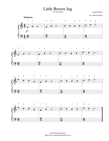 Little Brown Jug - for easy piano