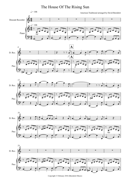 House of the Rising Sun for Descant Recorder and Piano