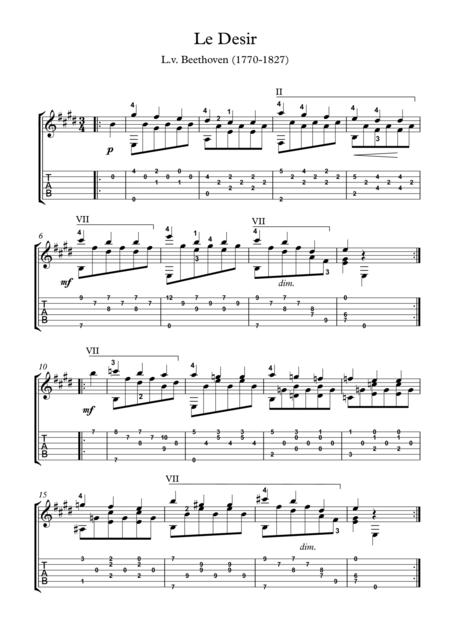 Le Desir classical guitar solo