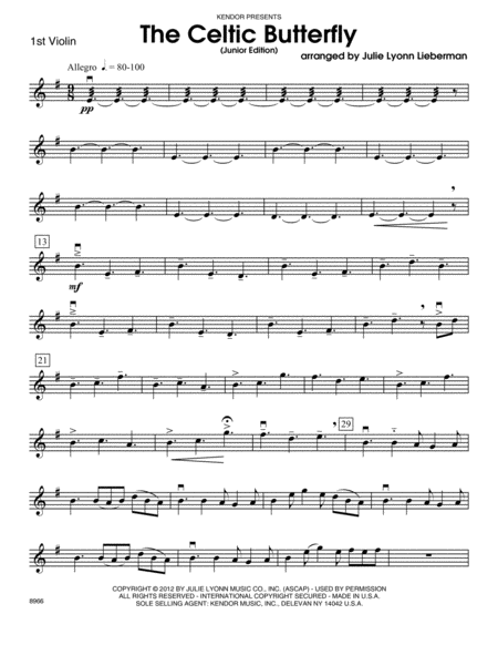 Celtic Butterfly, The (Junior Edition) - Violin 1