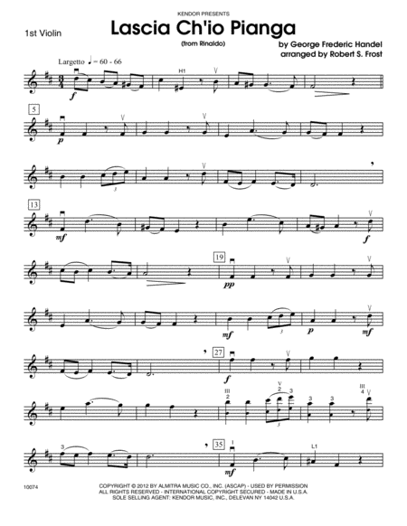 Lascia Ch'io Pianga (from Rinaldo) - Violin 1