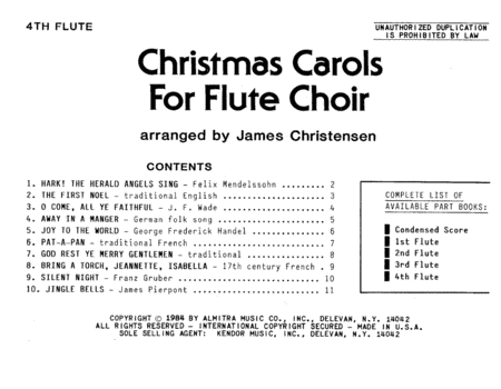 Christmas Carols For Flute Choir/Cond Score - Flute 4