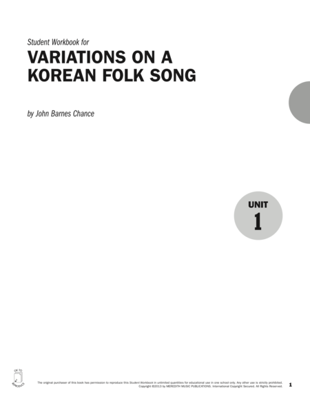 Guides to Band Masterworks, Vol. 3 - Student Workbook - Variations on a Korean Folk Song