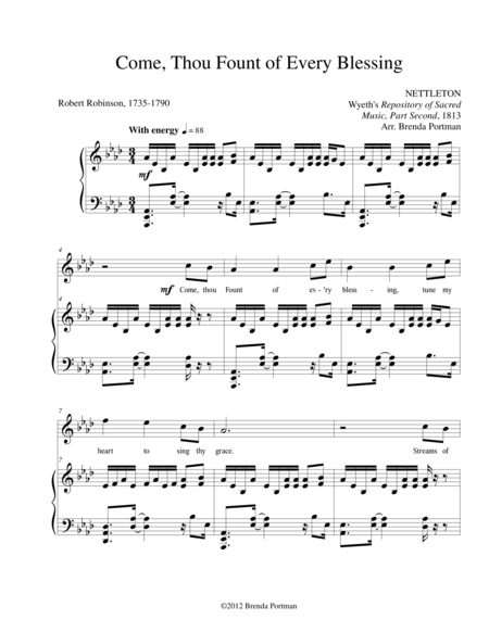 Come, Thou Fount of Every Blessing (NETTLETON), High Voice, arr. Brenda Portman