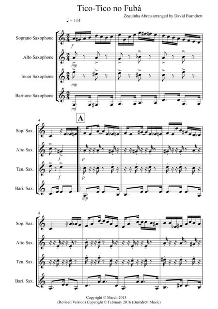 Tico Tico for Saxophone Quartet