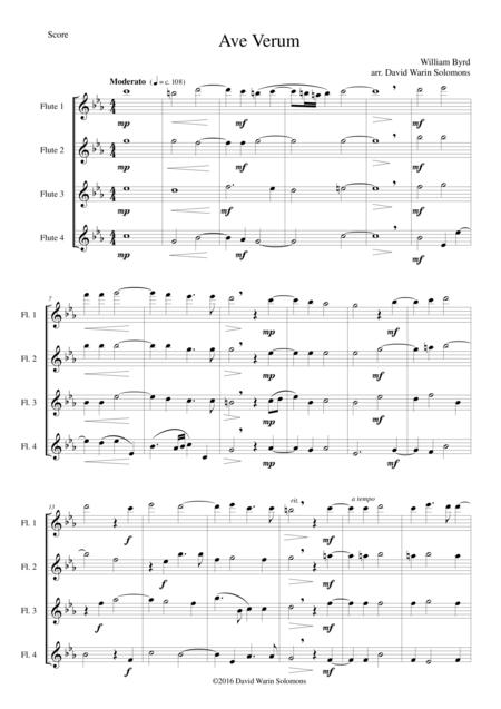 Ave Verum for 4 flutes