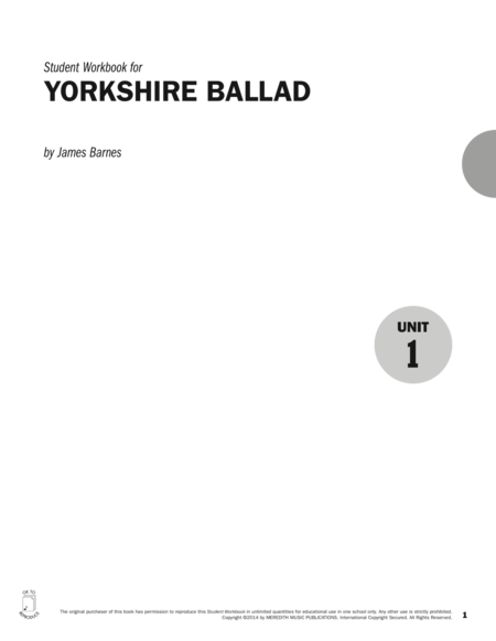 Guides to Band Masterworks, Vol. 4 - Student Workbook - Yorkshire Ballad