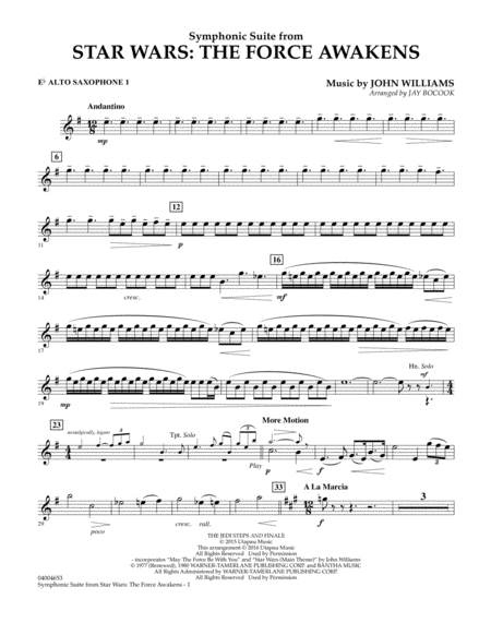 Symphonic Suite from Star Wars: The Force Awakens - Eb Alto Saxophone 1