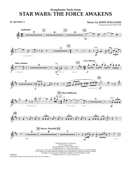 Symphonic Suite from Star Wars: The Force Awakens - Bb Trumpet 1