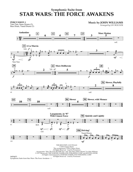 Symphonic Suite from Star Wars: The Force Awakens - Percussion 1