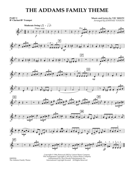 The Addams Family Theme - Pt.2 - Bb Clarinet/Bb Trumpet