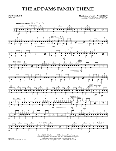The Addams Family Theme - Percussion 1