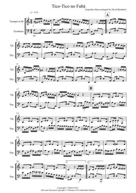 Tico Tico for Trumpet and Trombone Duet