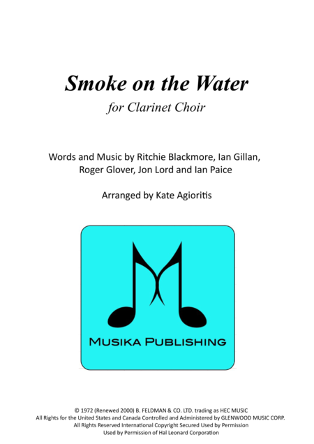 Smoke on the Water - for Clarinet Choir