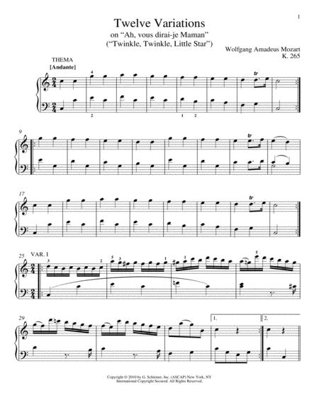 Twelve Variations on Ah, Vous Dirai-je Maman, K. 265 (Twinkle, Twinkle, Little Star)