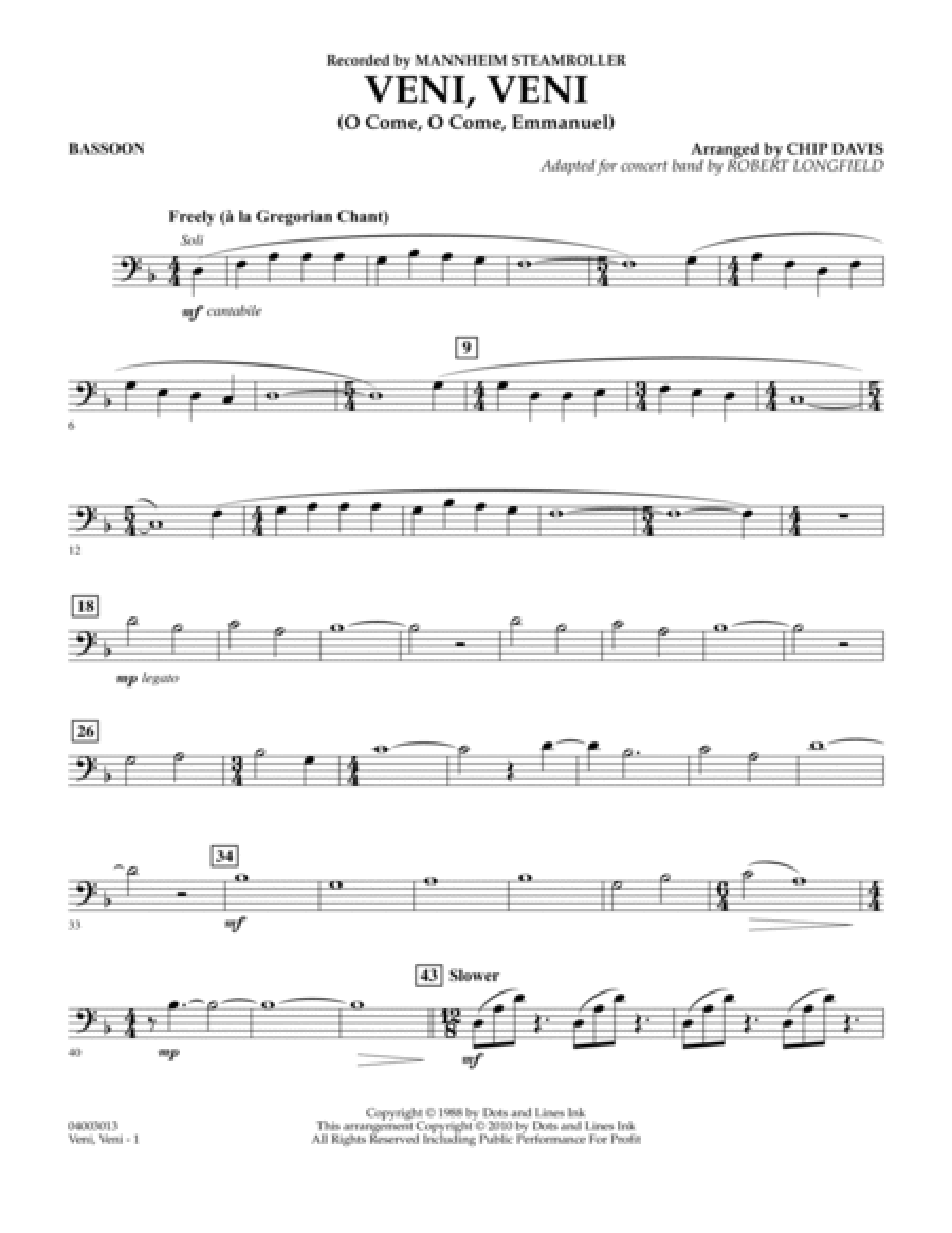 Veni, Veni (O Come, O Come Emmanuel) - Bassoon
