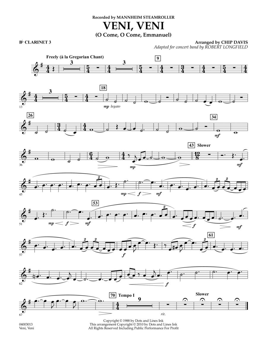 Veni, Veni (O Come, O Come Emmanuel) - Bb Clarinet 3