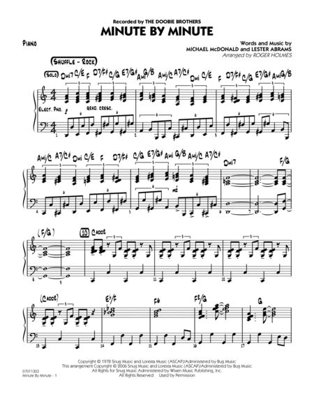 Minute By Minute - Piano
