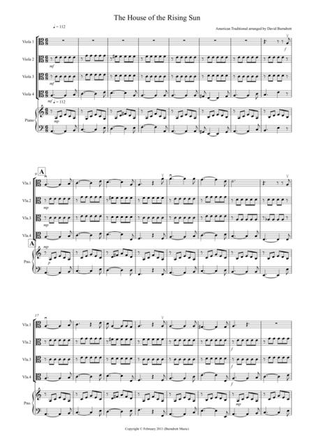 House of the Rising Sun for Viola Quartet