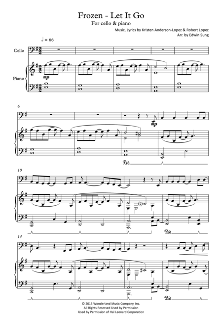 Frozen - Let It Go (for cello & piano, including part score)