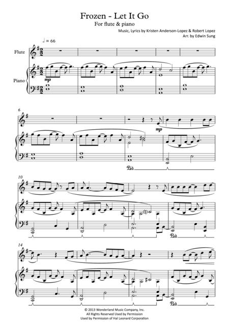 Frozen - Let It Go (for flute & piano, including part score)