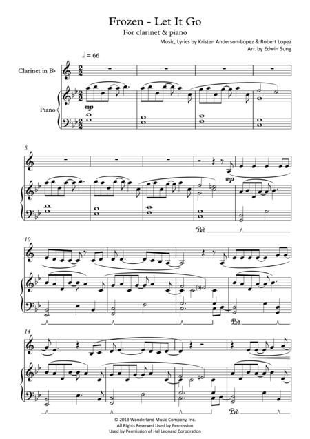 Frozen - Let It Go (for clarinet & piano, including part score)