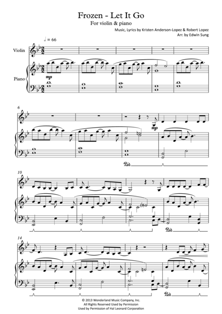 Frozen - Let It Go (for violin & piano, including part score)
