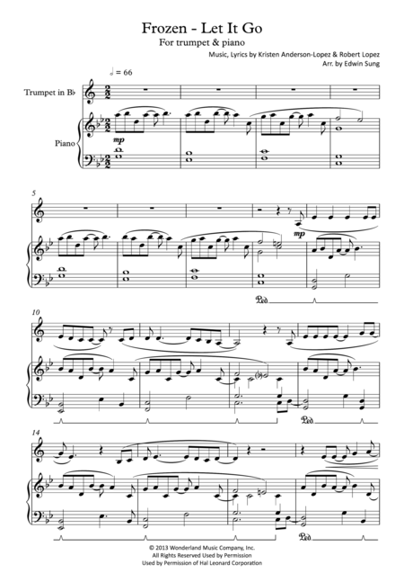 Frozen - Let It Go (for trumpet & piano, including part score)