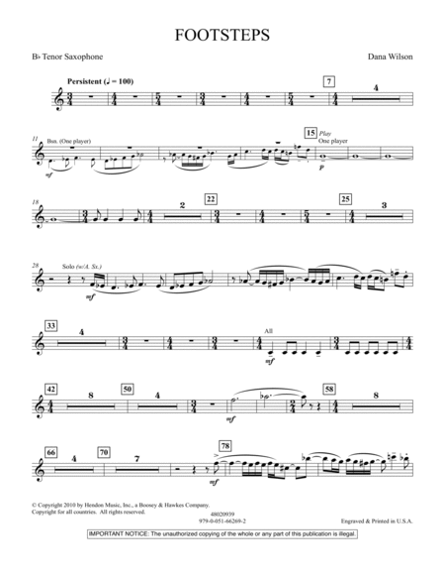 Footsteps - Bb Tenor Saxophone