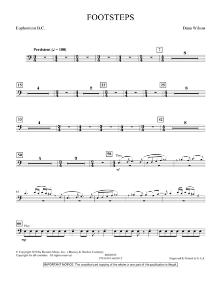 Footsteps - Euphonium in Bass Clef