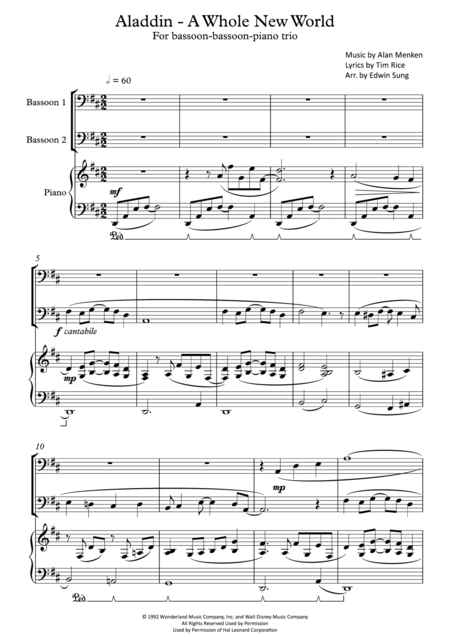 Aladdin - A Whole New World (for bassoon-bassoon-piano trio, including part scores)