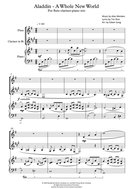 Aladdin - A Whole New World (for flute-clarinet-piano trio, including part scores)