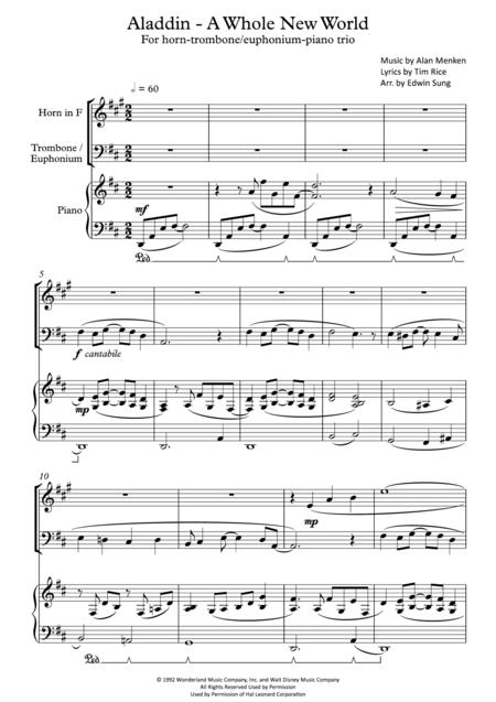 Aladdin - A Whole New World (for horn-trombone(/euphonium)-piano trio, including part scores)