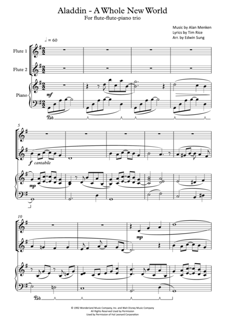 Aladdin - A Whole New World (for flute-flute-piano trio, including part scores)
