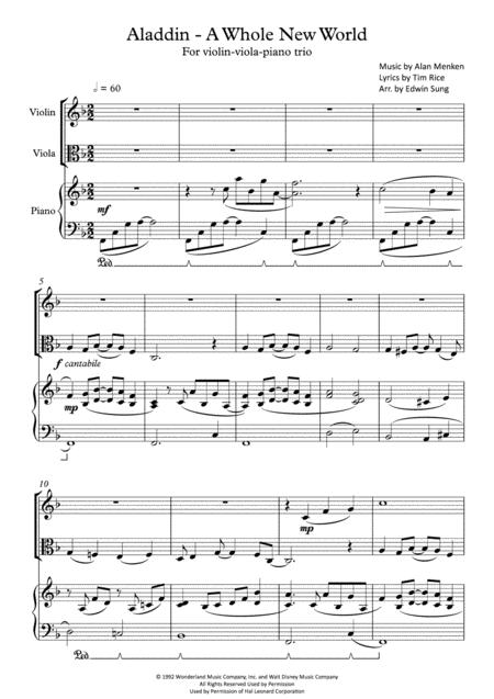 Aladdin - A Whole New World (for violin-viola-piano trio, including part scores)