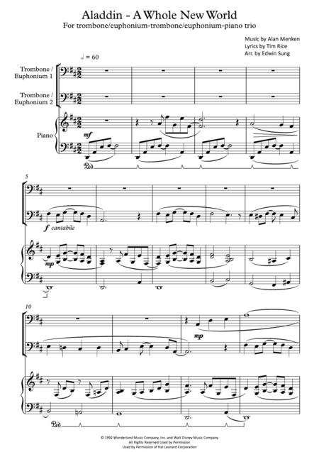 Aladdin - A Whole New World (for trombone(/euphonium)-trombone(/euphonium)-piano trio, including part scores)