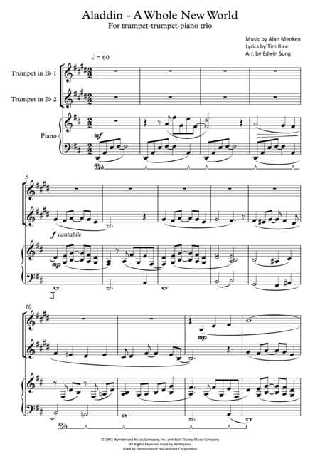 Aladdin - A Whole New World (for trumpet-trumpet-piano trio, including part scores)