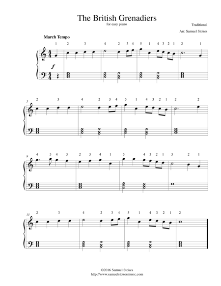 The British Grenadiers (Free America) - for easy piano