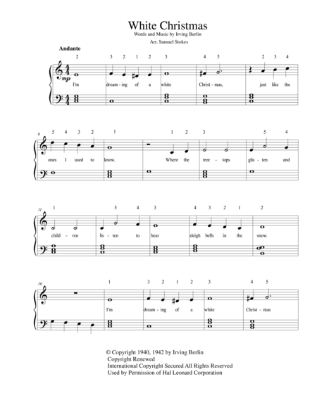 White Christmas - for easy piano and optional voice